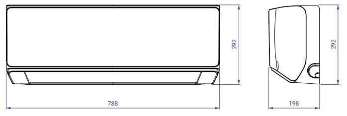 Wymiary klimatyzator ścienny AUX Halo Deluxe AUX-12HE