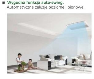 wygodna funkcja auto-swing Klimatyzacja podsufitowo-przypodłogowa  Chigo cua-48hr1