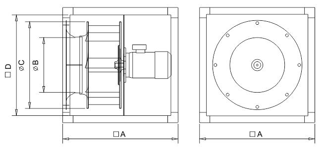 Wentylator kanałowy Dospel M-Box 400/670/3L wymiary