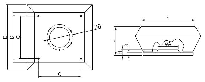 Wentylator dachowy Dospel WDD 355-H2 wymiary