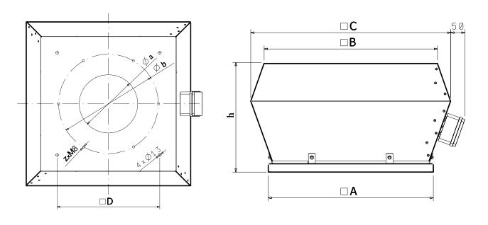 Wentylator dachowy Dospel WDEx 450 wymiary