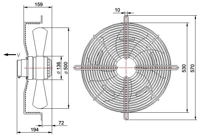 Wentylator Ferono FSS500 v15 wymiary