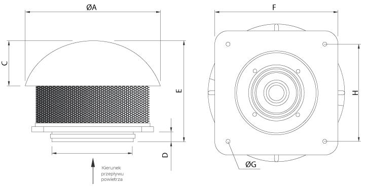 Wymiary wentylatora Ferono FDO255