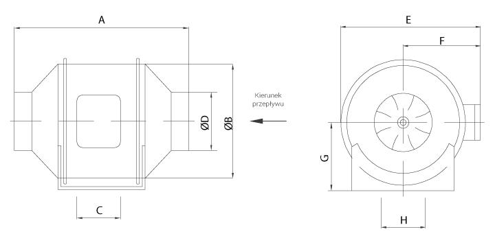 Wentylator Ferono FKP150 wymiary