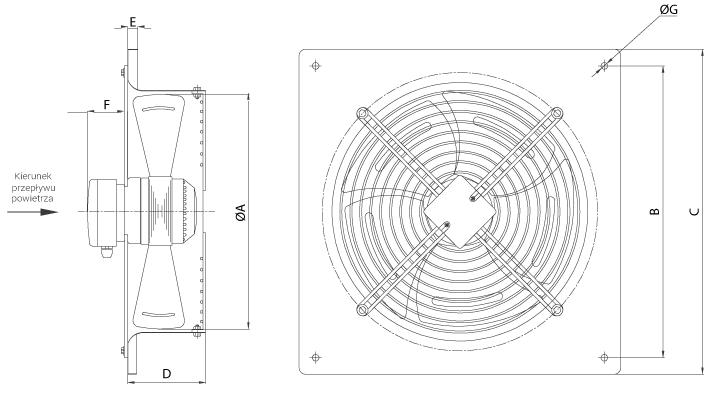 Wymiary wentylatora Ferono FPT500
