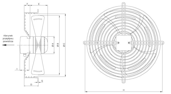Wymiary wentylatora Ferono FSS250