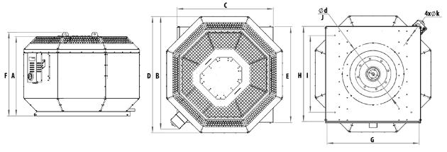 Harmann wentylatory dachowe ROOFTEC 400/5600EC. Wymiary