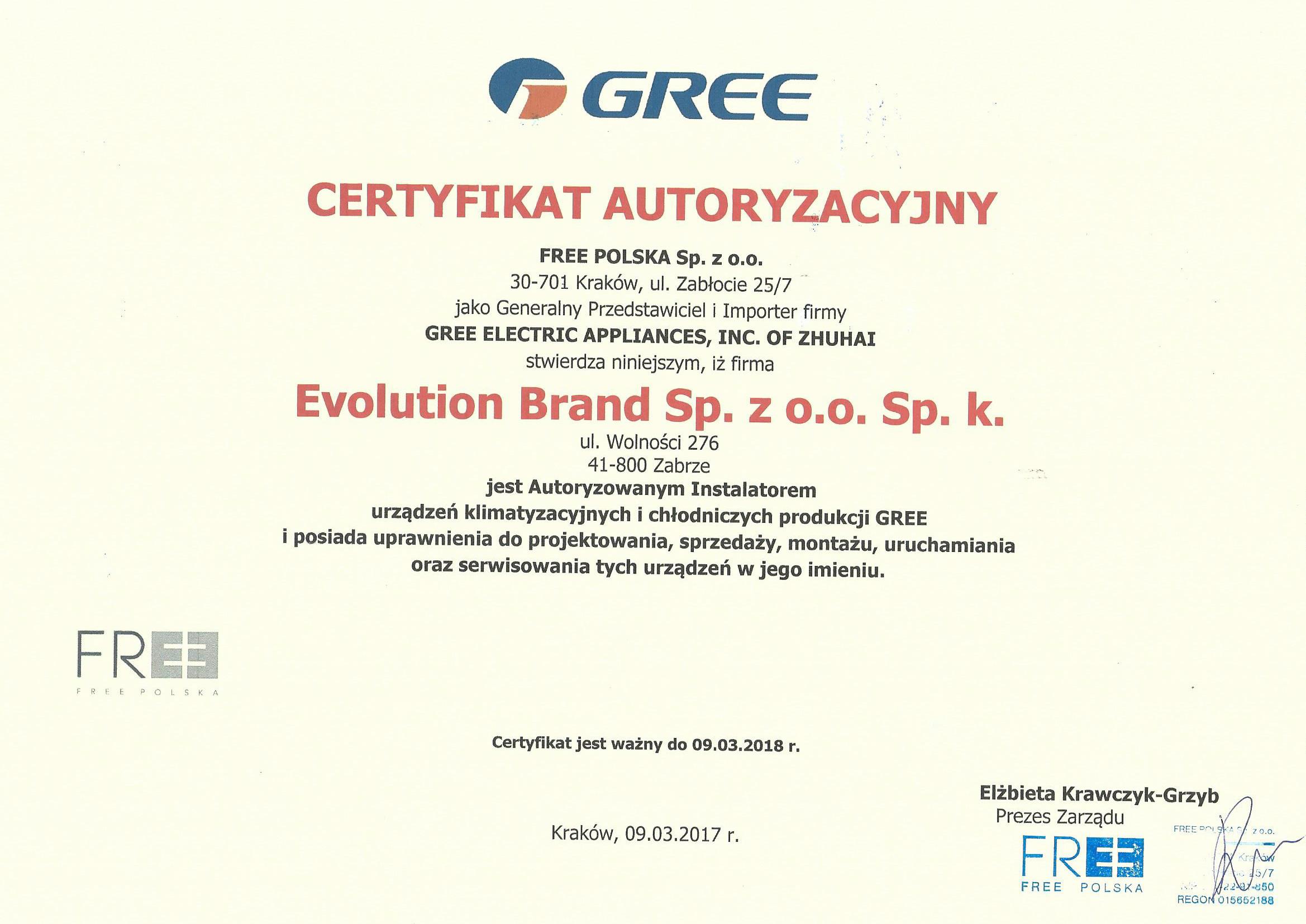 Gree certyfikat