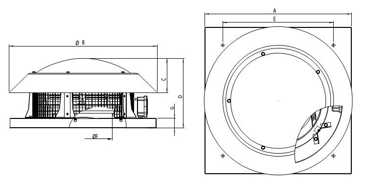Wentylator dachowy Havaco RBH-400/3600 M wymiary