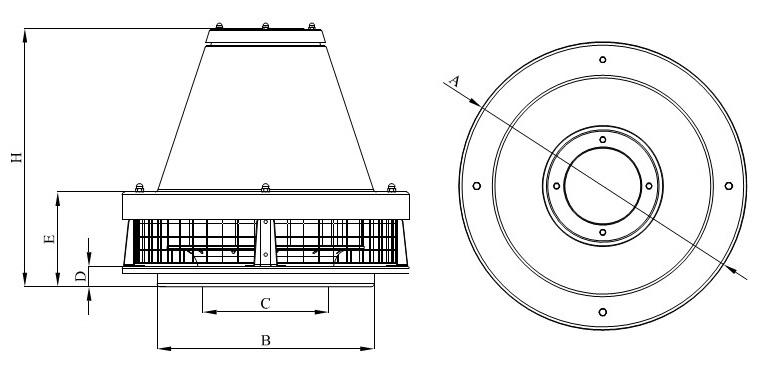 Wentylator dachowy Havaco RKH-315/2200 M wymiary