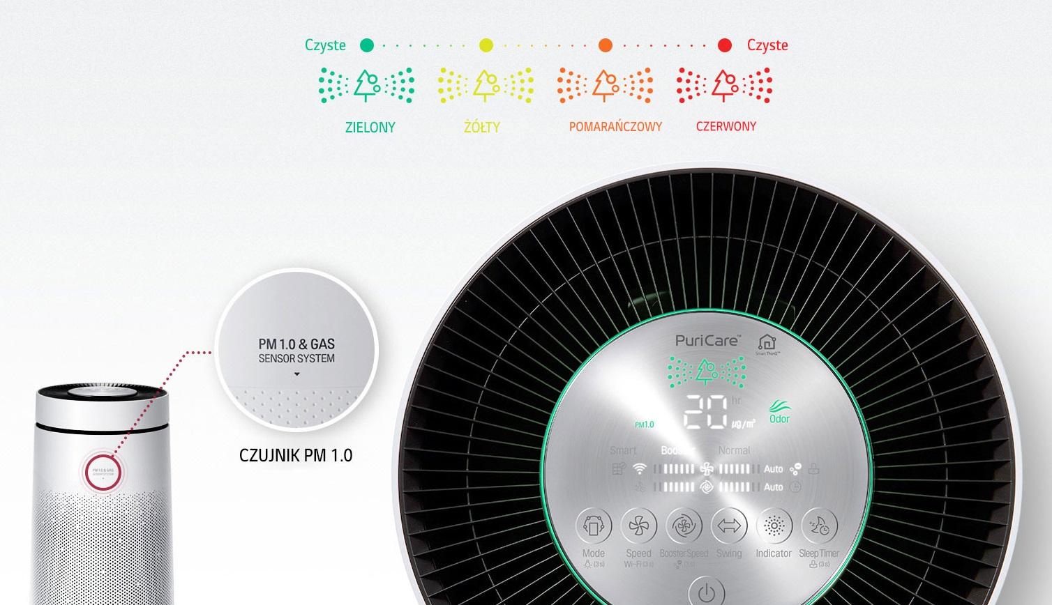 Czujnik jakości powietrza w oczyszczaczu LG AS95GDWV0.AEU Puri Care
