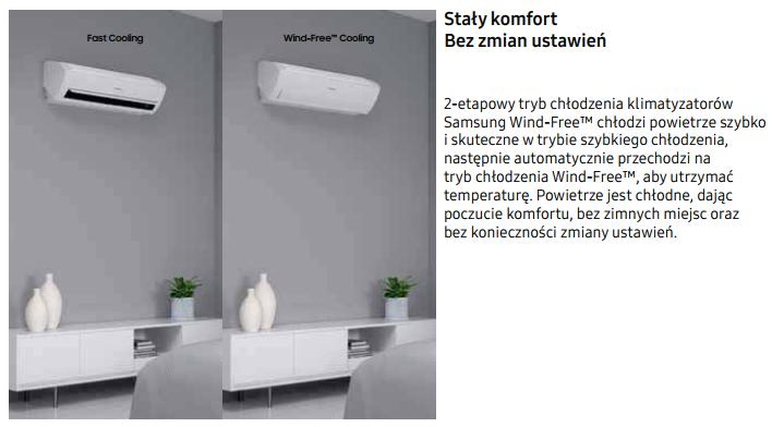 Klimatyzator Samsung Wind-Free Ultra AR12NXCXAWKNEU/X technologia Wind-Free