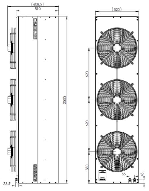 Kurtyna powietrzna Sonniger Guard Pro 200W wymiary