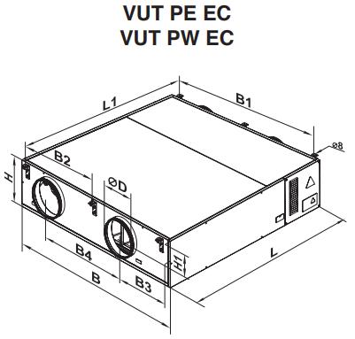 Rekuperatory Vents VUT 600 PW EC A11 wymiary