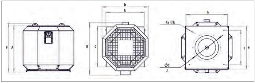 Harmann wentylatory dachowe ISOROOFTEC 2-315/3600S. Wymiary