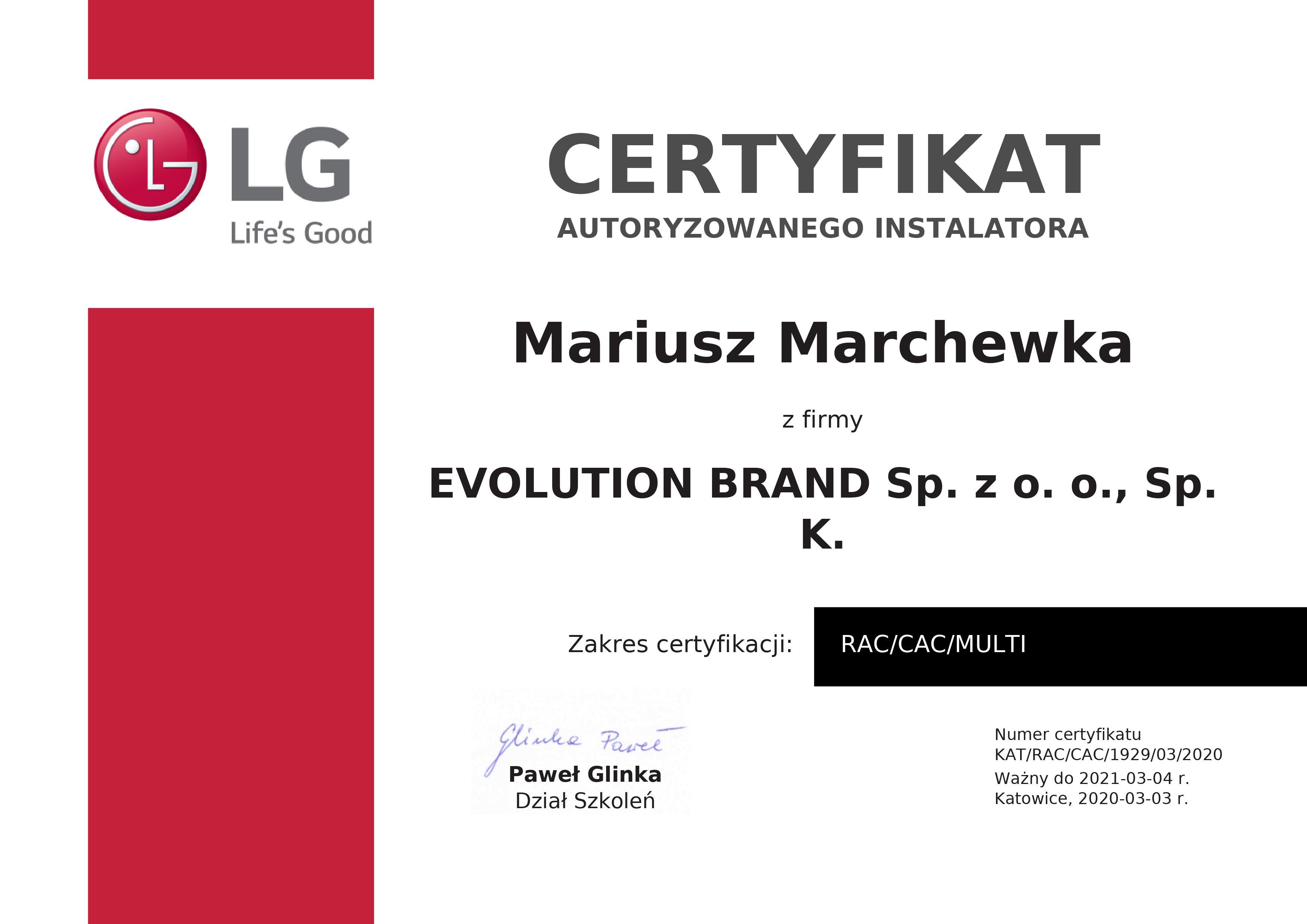 Cetryfikat LG Evolution Brand