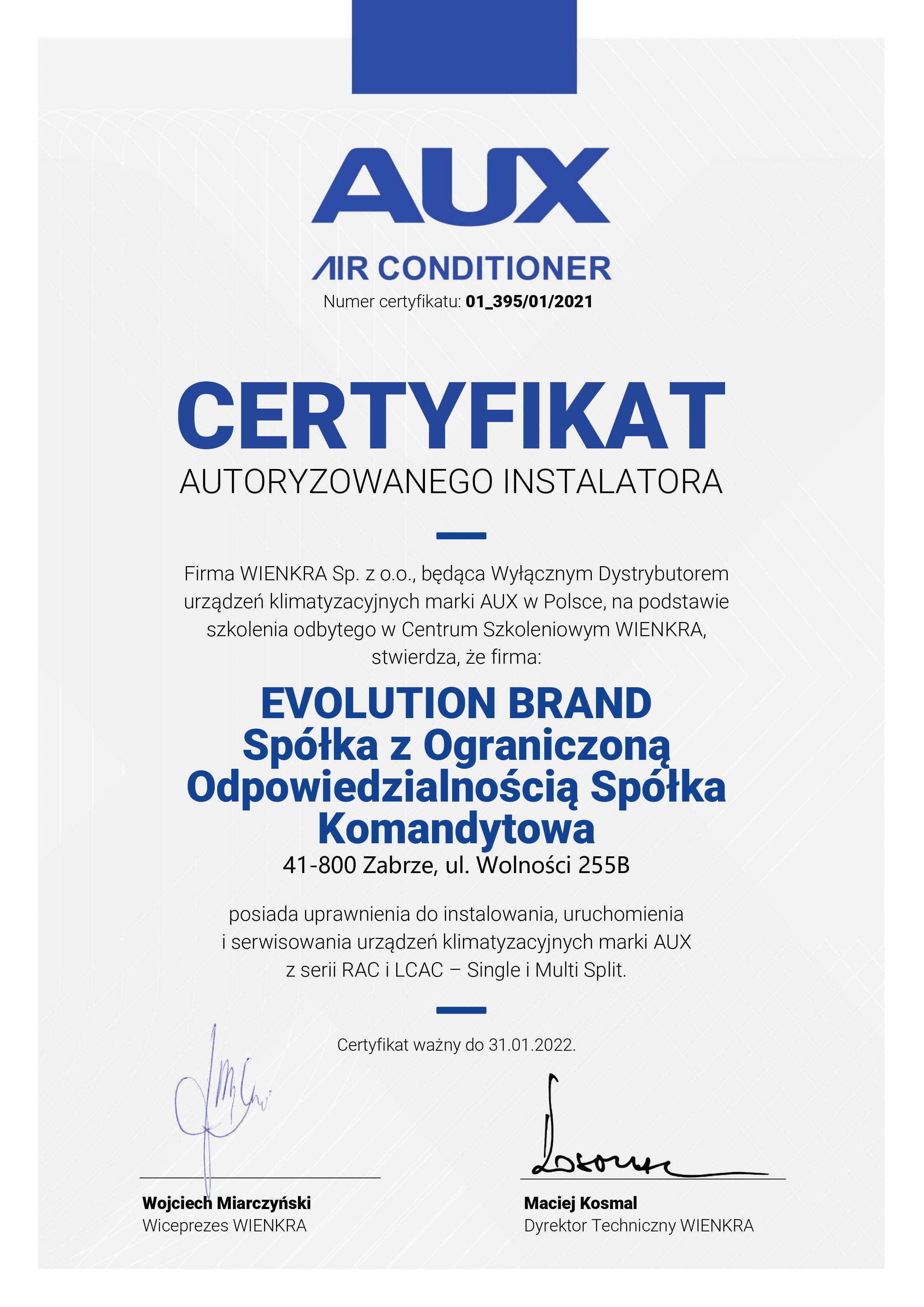 Certyfikat AUX 2021