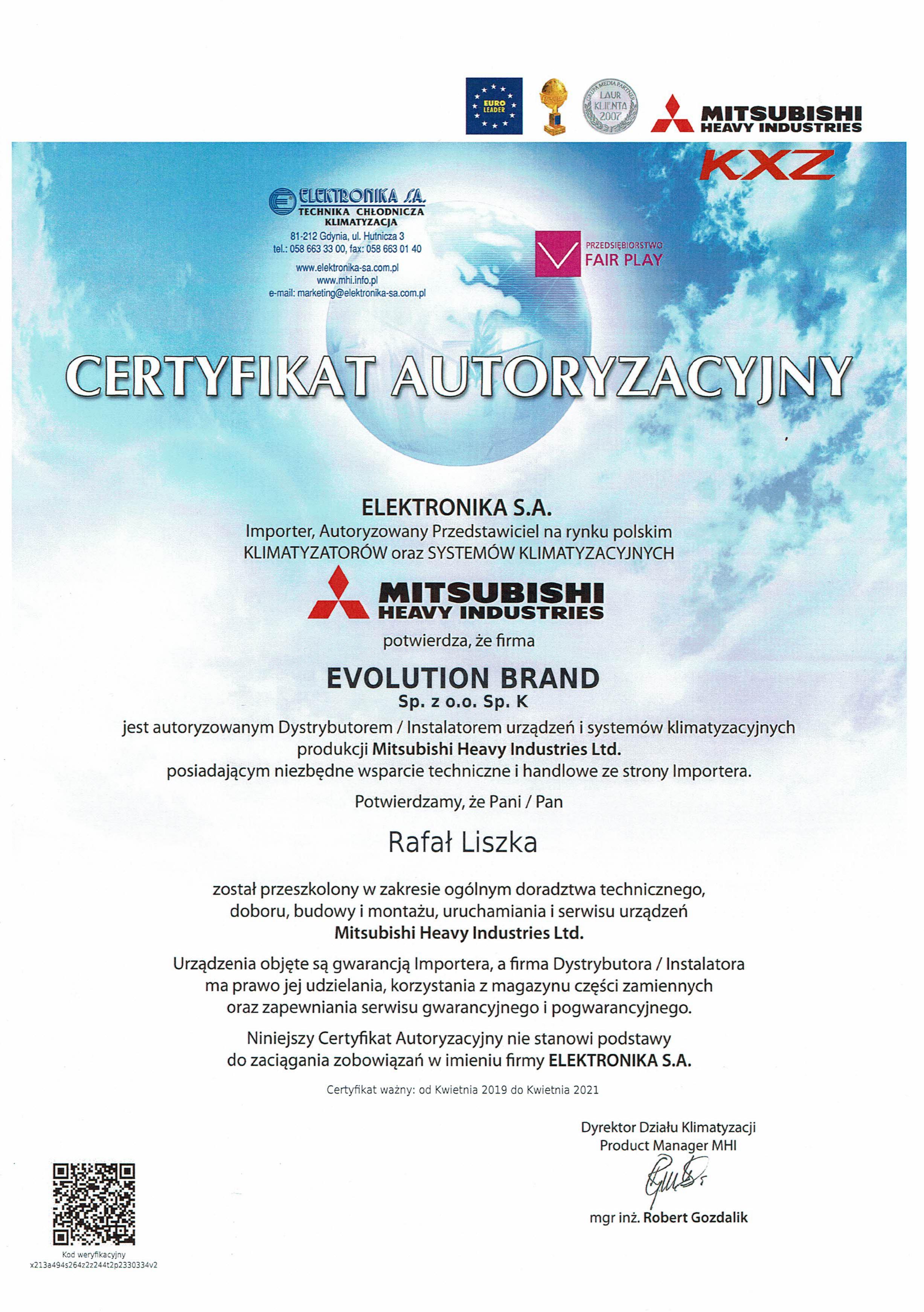 Certyfikat Mitsubishi Heavy 2021