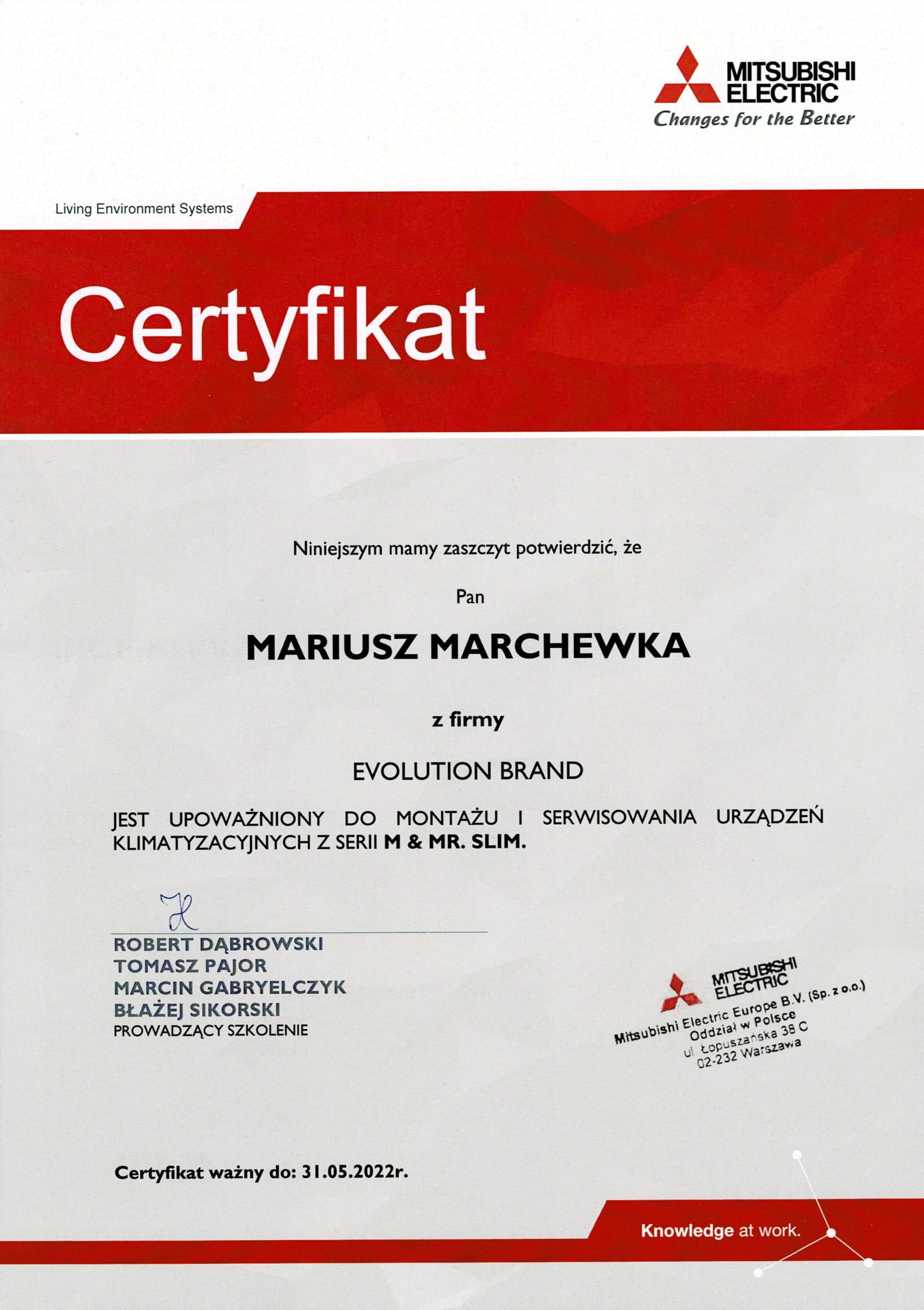 Certyfikat Mitsubishi Electric 2021