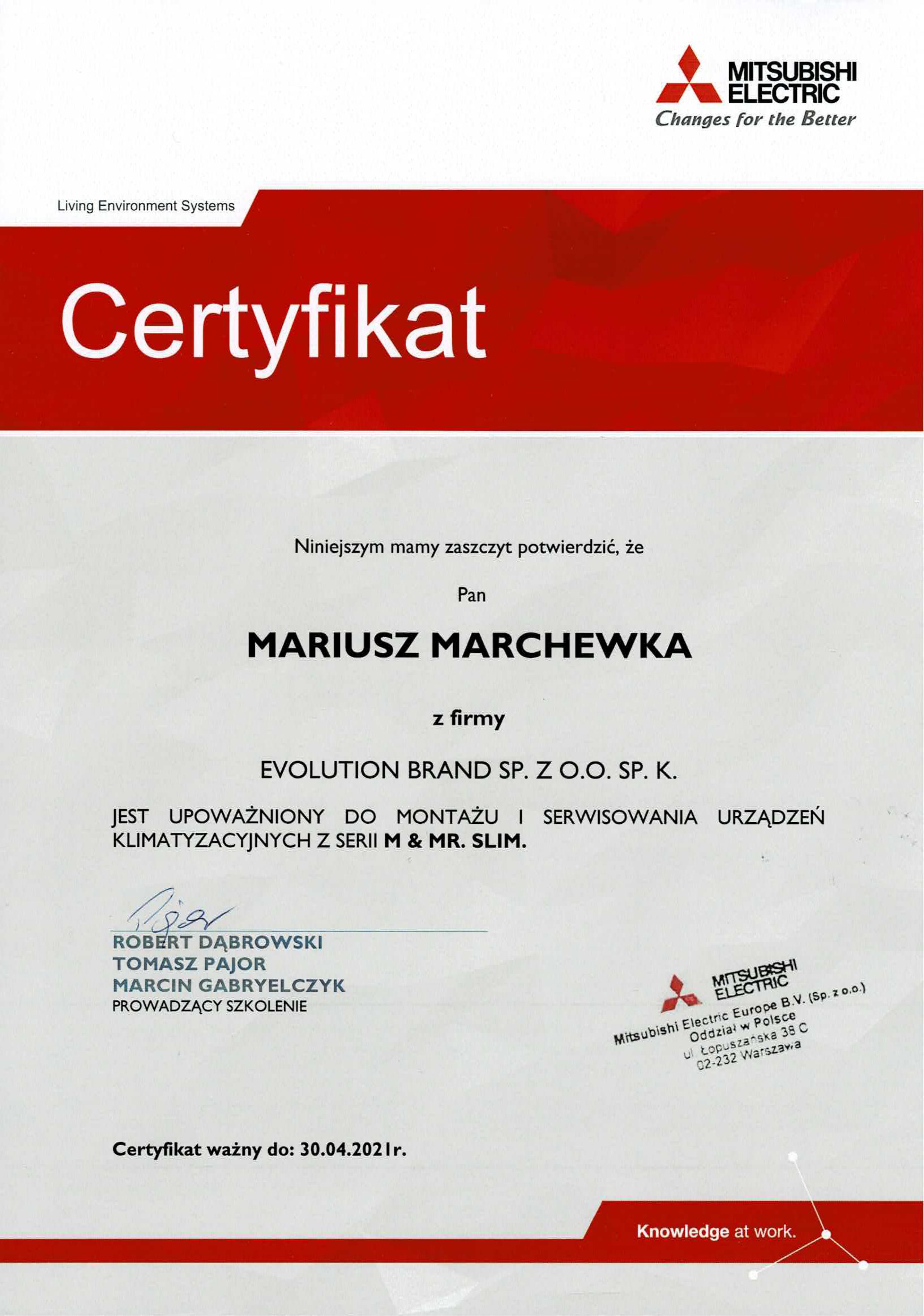 Certyfikat Mitsubishi Electric 2020
