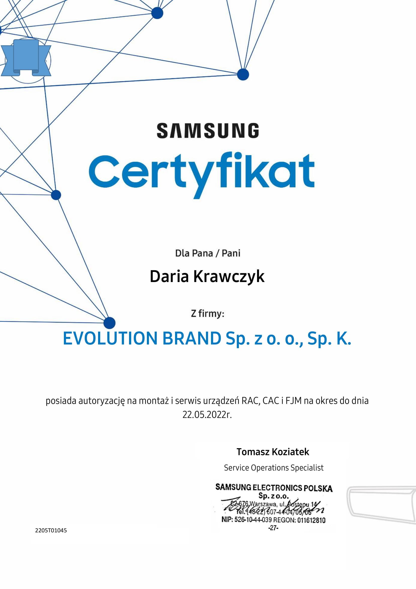 Certyfikat Samsung 2020 Evolution Brand