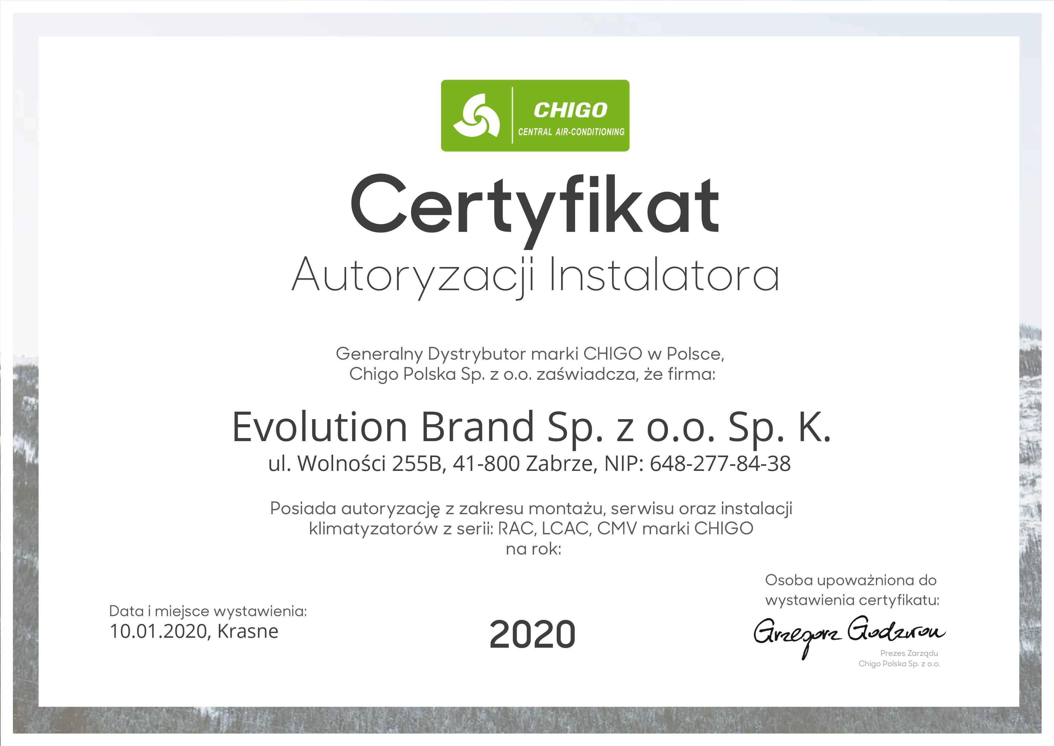 Certyfikat Chigo 2020
