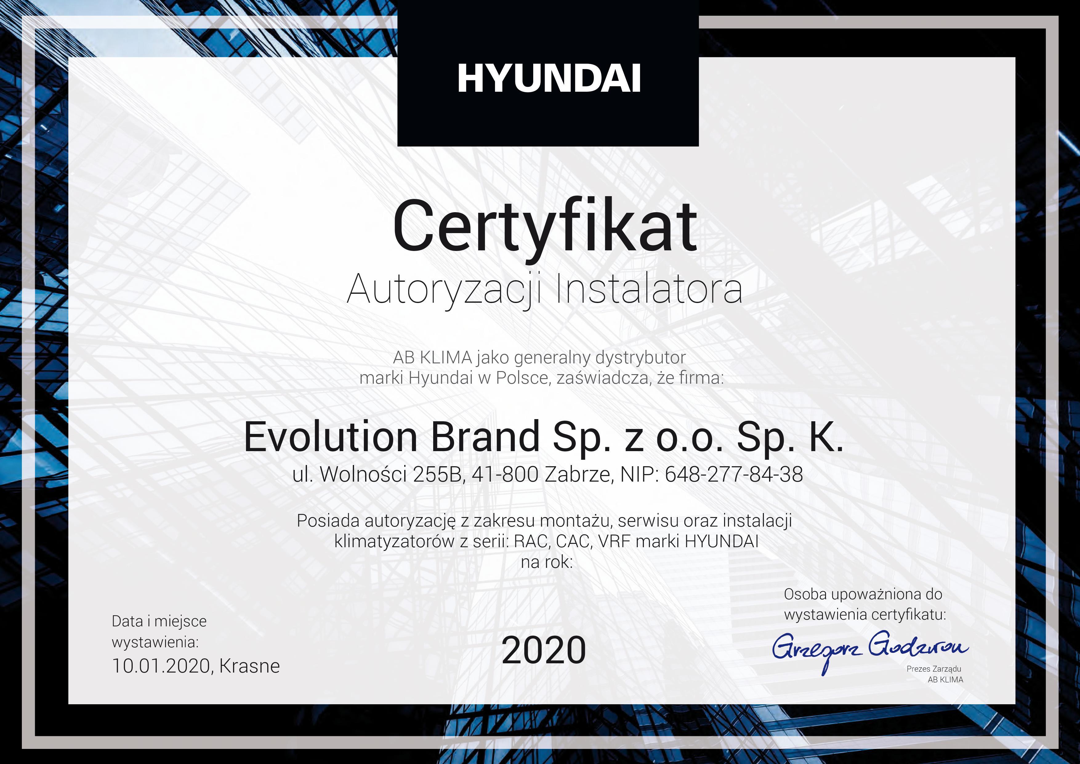 Certyfikat Hyundai 2020