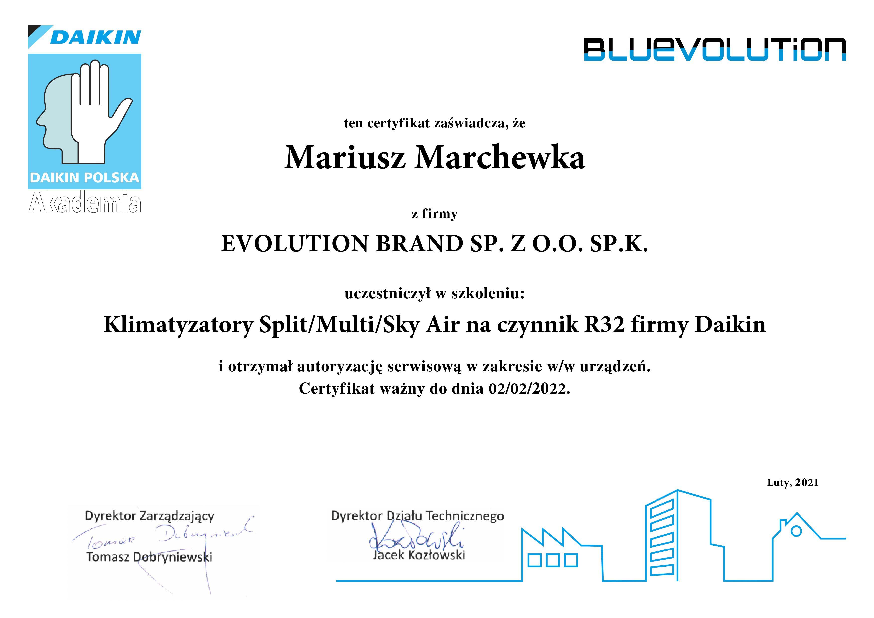 Certyfikat Daikin 2021