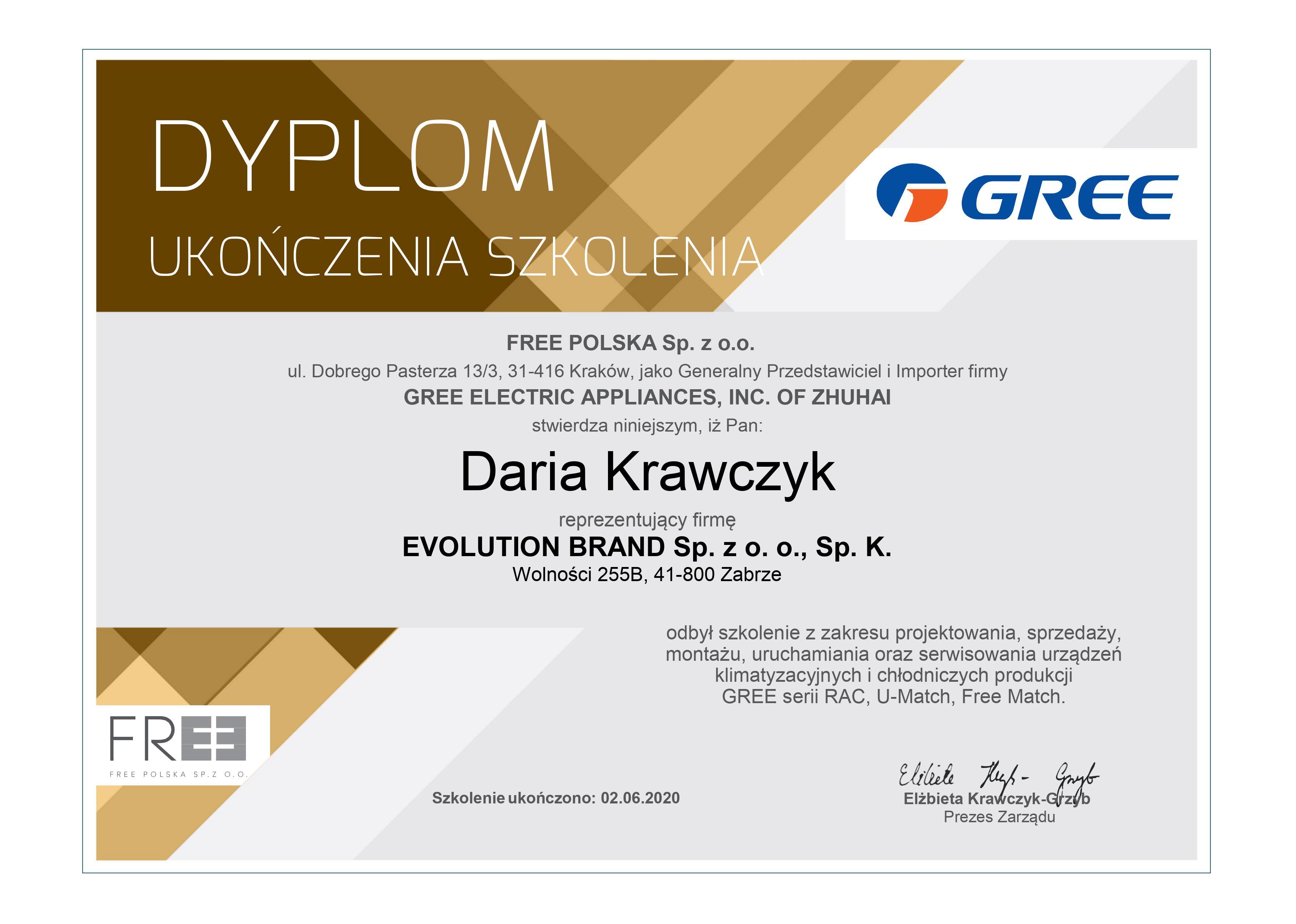 Certyfikat Gree Evolution Brand