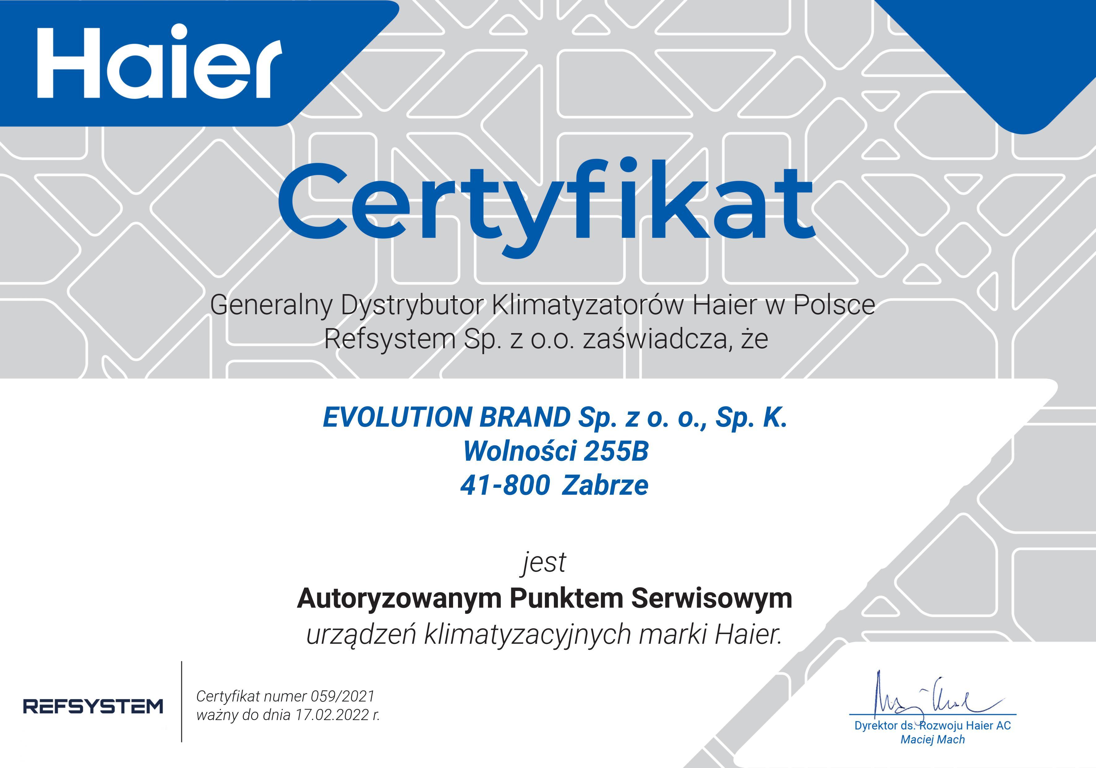 Certyfikat Haier 2021