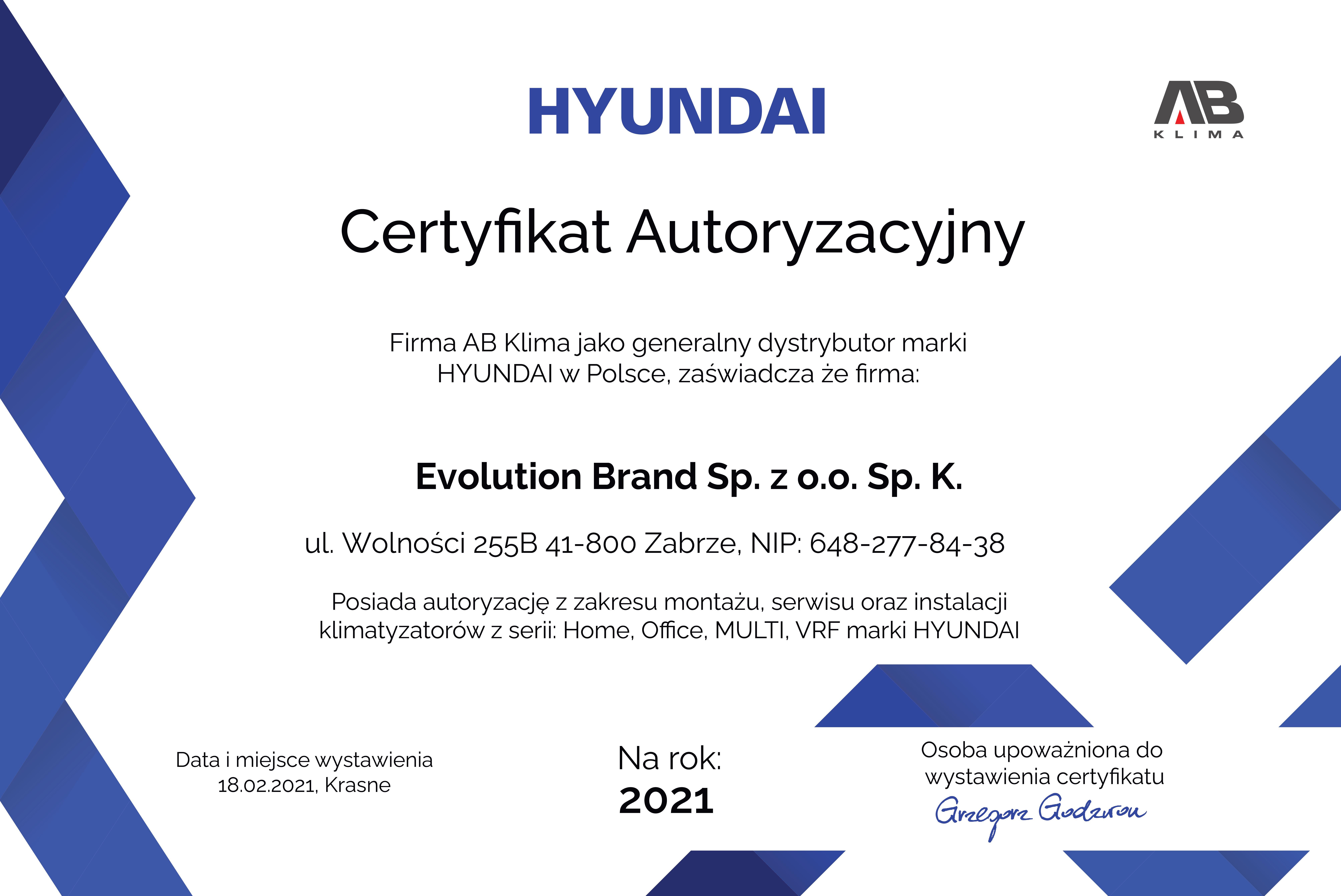 Certyfikat Hyundai 2021
