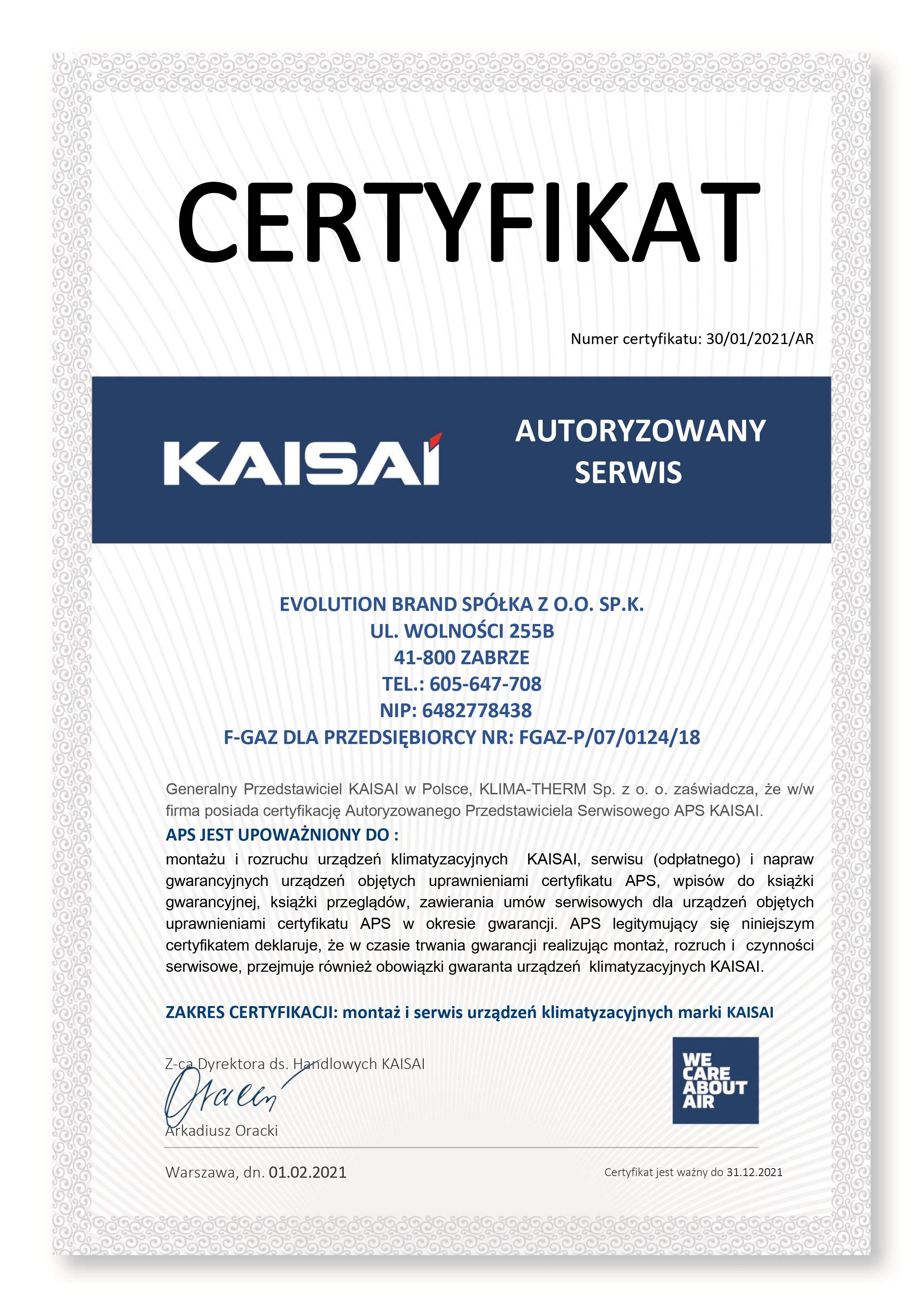 Certyfikat Kaisai 2021