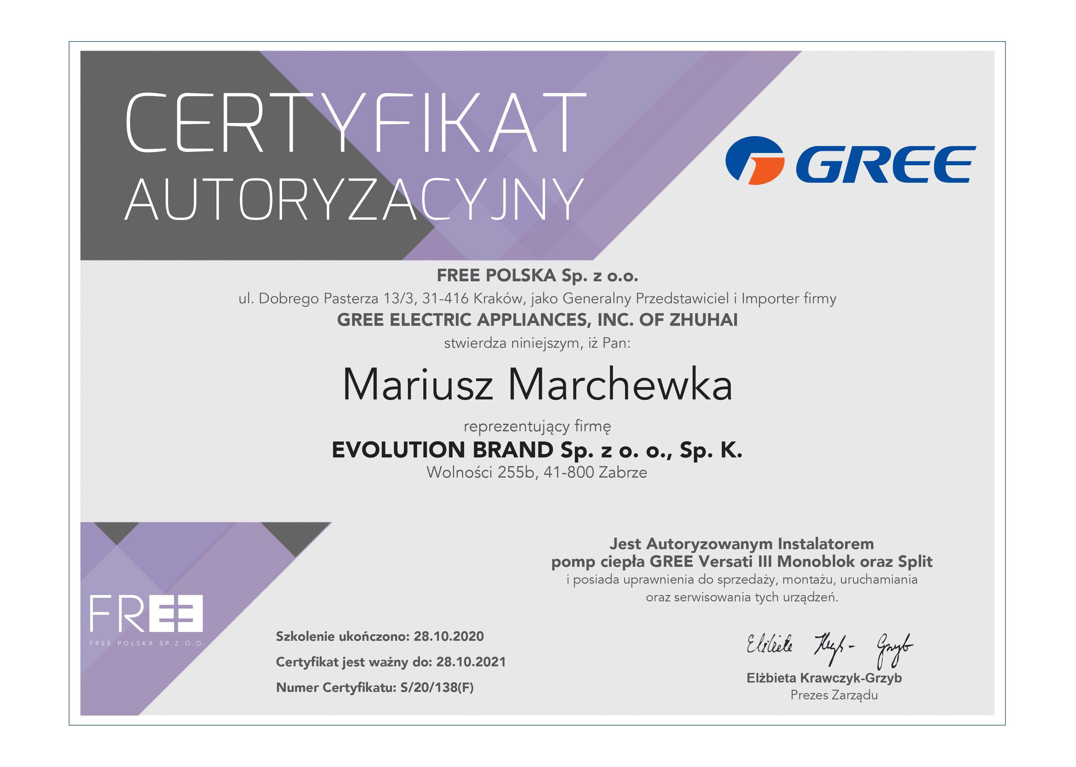 Certyfikat Gree Versati 2021