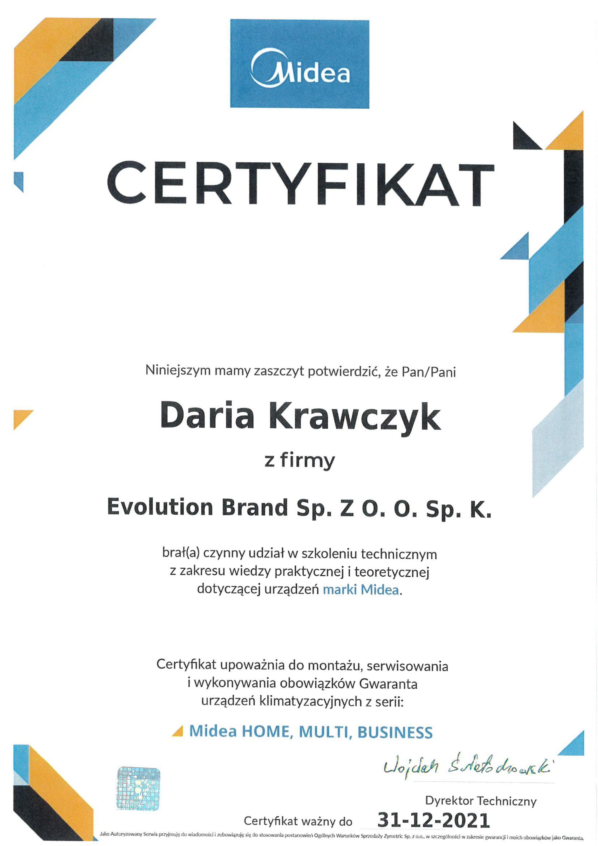 Certyfikat Midea 2021