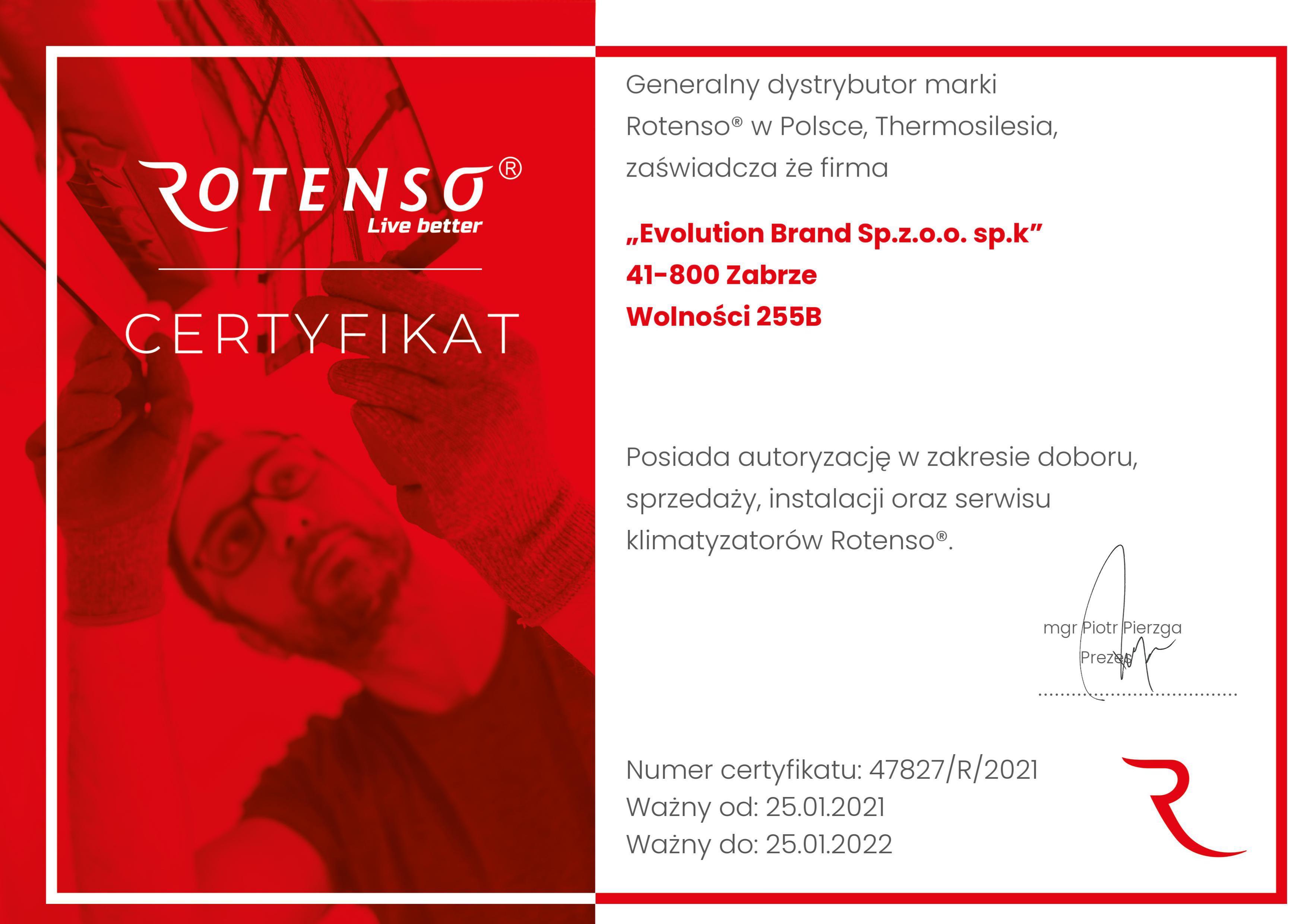Certyfikat Rotenso 2021