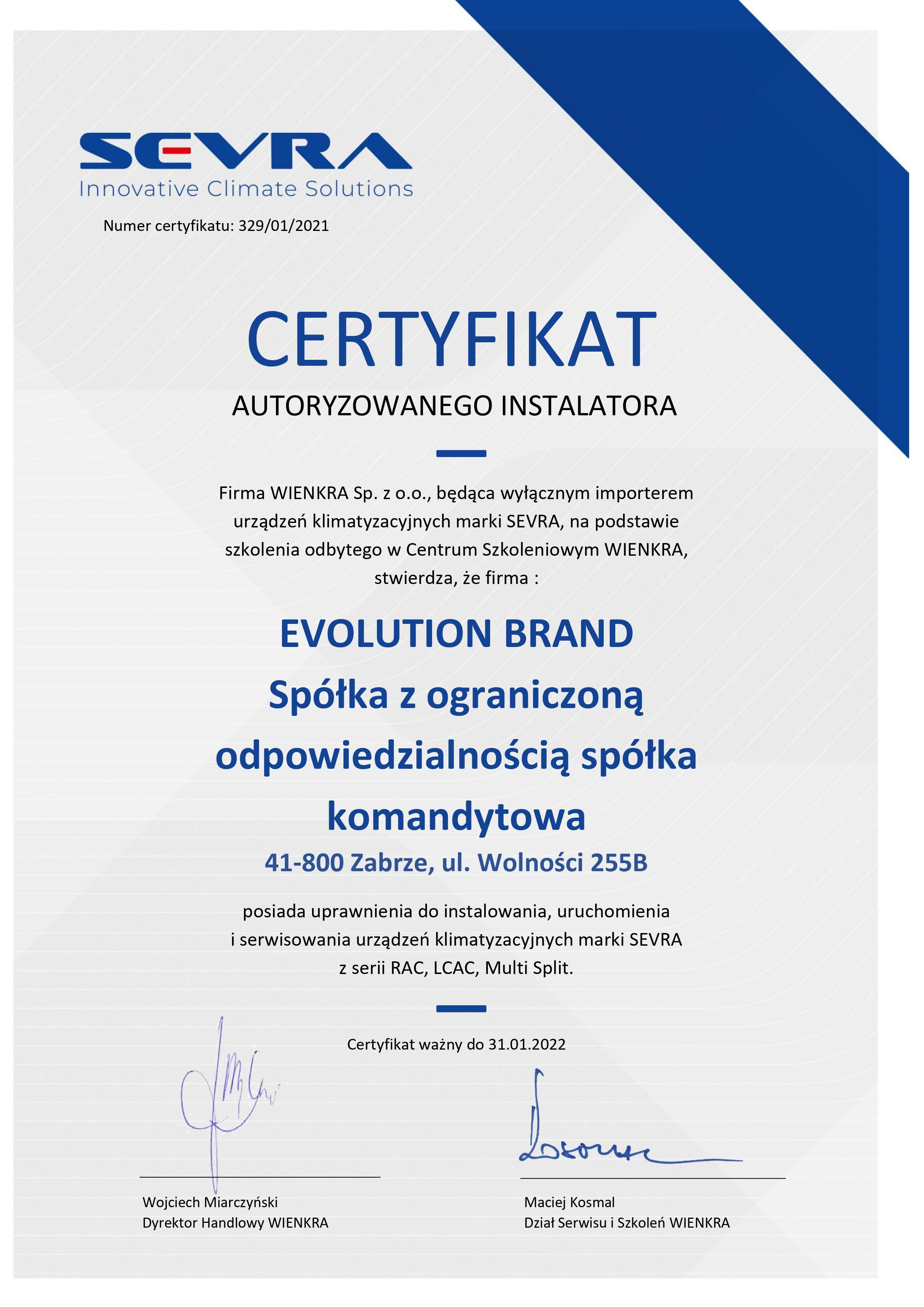 Certyfikat Sevra 2021