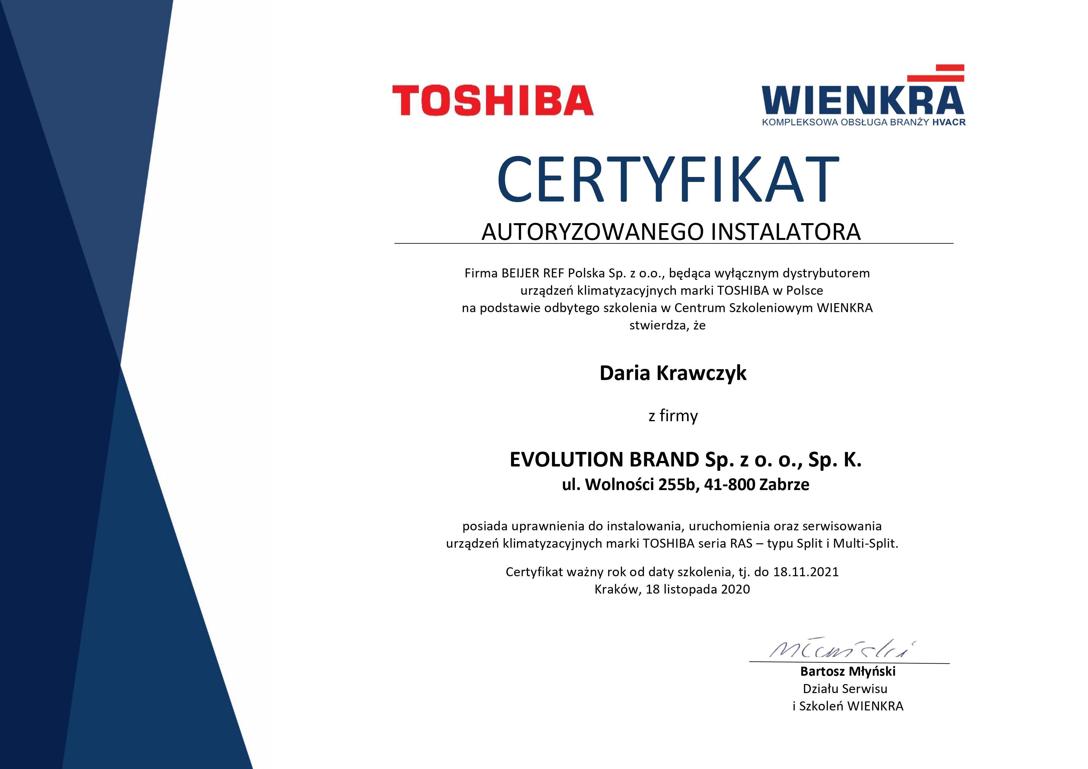 Certyfikat Gree Toshiba 2021
