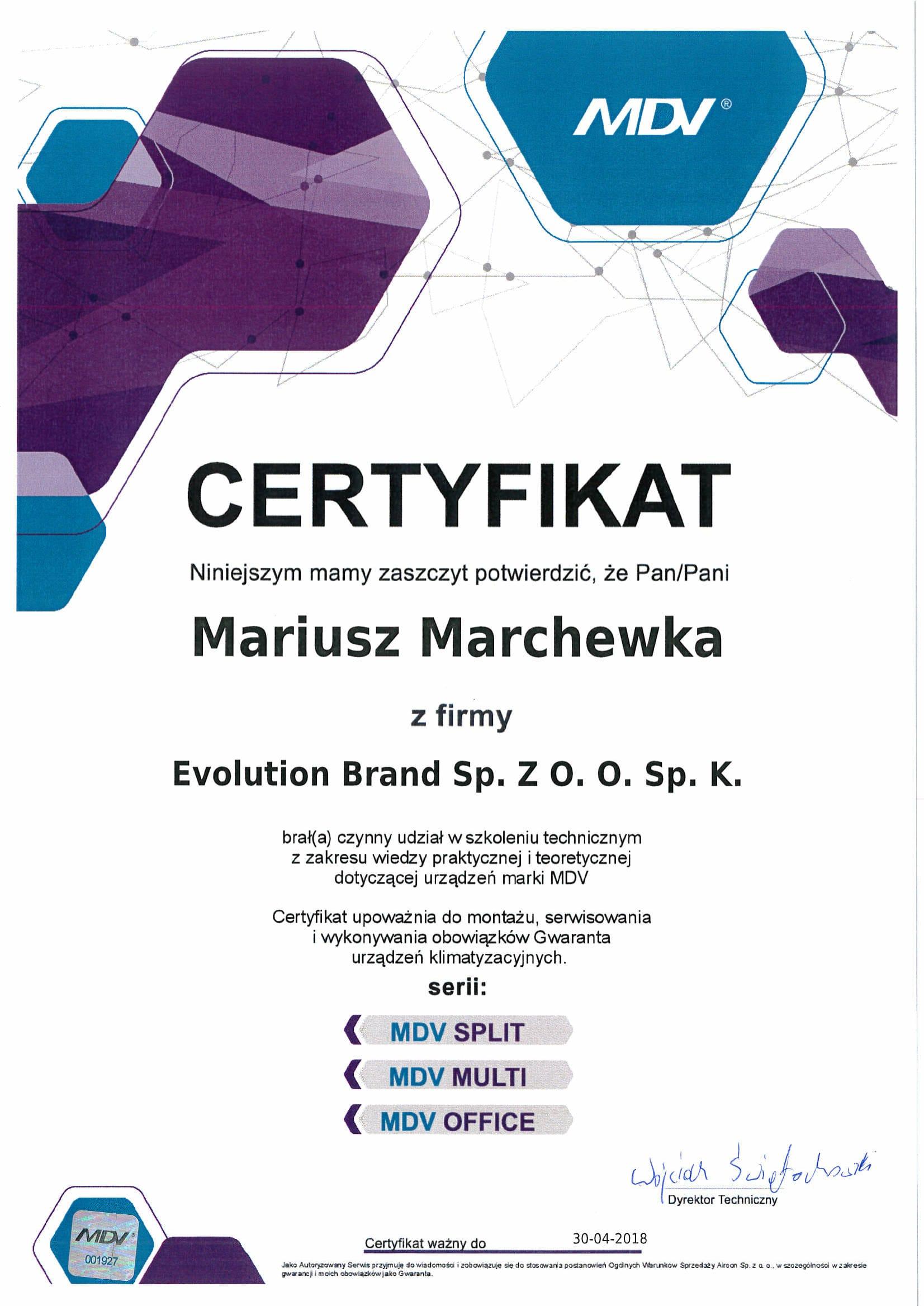 Certyfikat MDV 2017