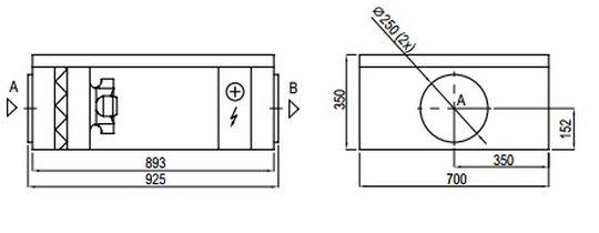 Centrala podwieszana Komfovent Verso S 1300 F-HE/15- wymiary urządzenia