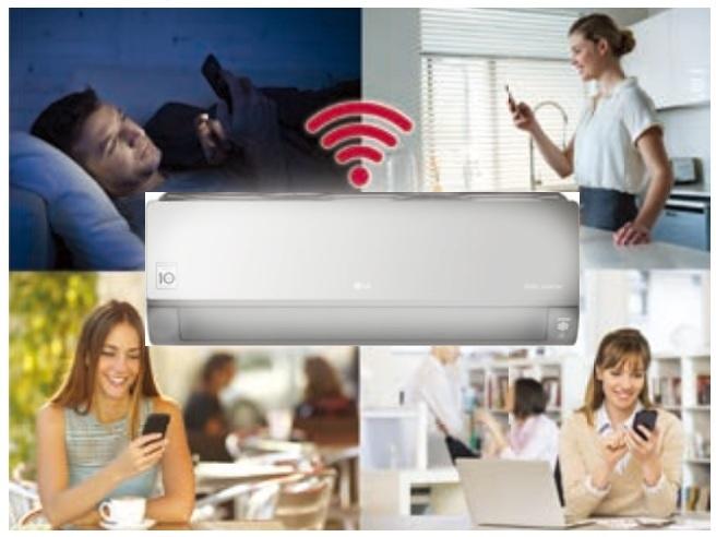 Wbudowane WiFi w klimatyzatorze ściennym LG AC18SQ.NSK Artcool Silver