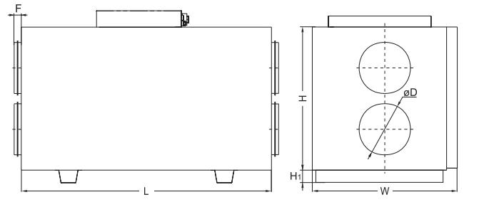 Salda centrale wentylacyjne RIRS 400 HW EKO 3.0. Wymiary