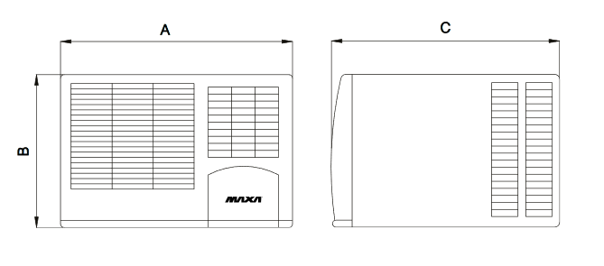 Wymiary klimatyzatora Maxa F26A06