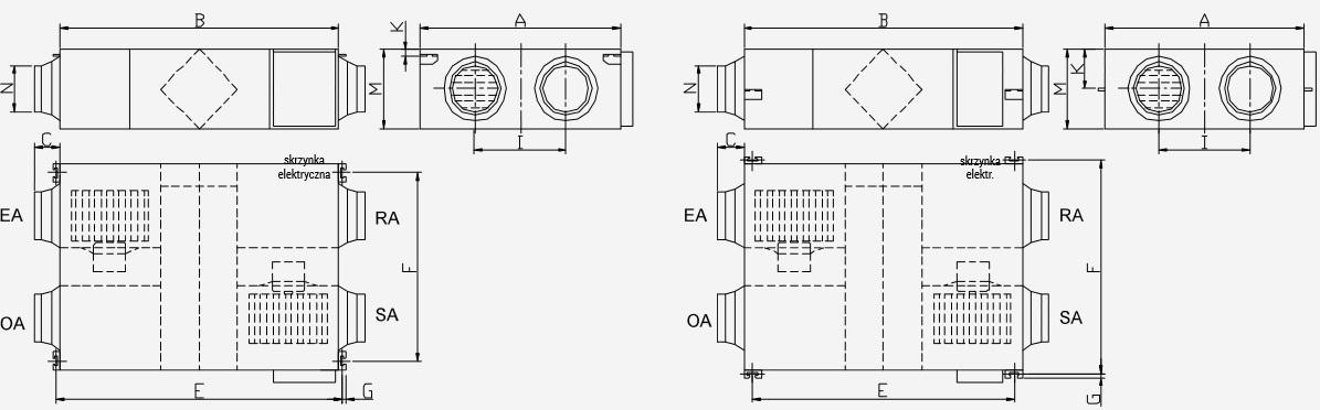 Wymiary rekuperatora Noxa Air NXERV-800V1