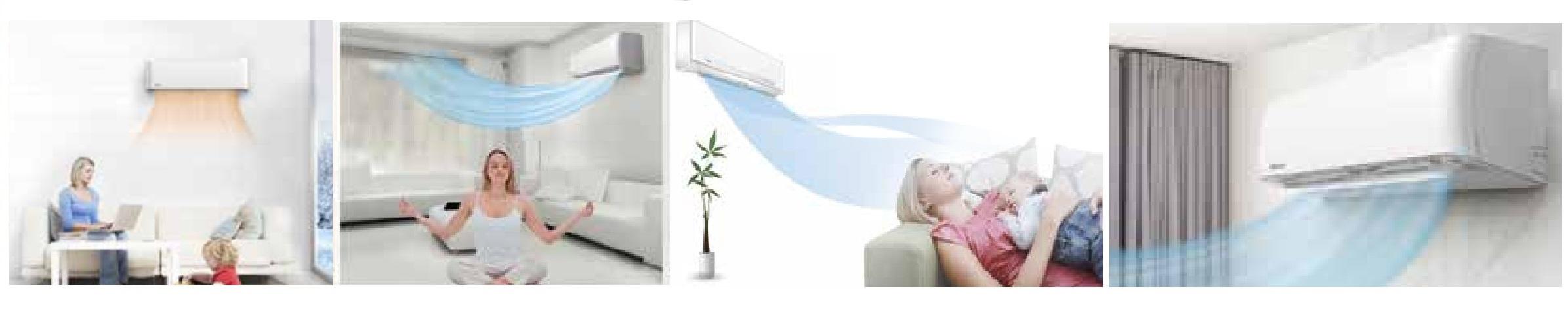 Komfortowy prepływ powietrza w klimatyzatorze Vivax M-Design ACP-18CH50AEMI